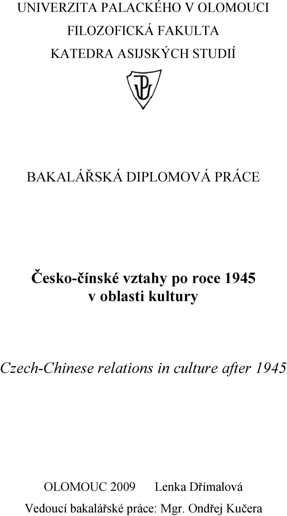 roce 1945 v oblasti kultury Czech-Chinese relations in culture after
