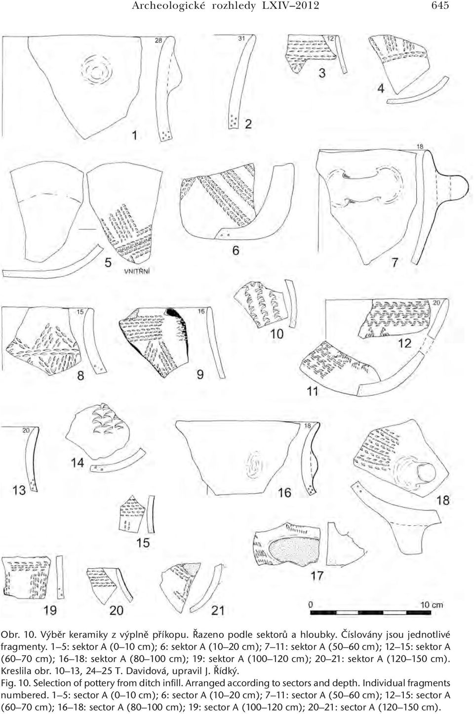 (120 150 cm). Kreslila obr. 10 13, 24 25 T. Davidová, upravil J. Řídký. Fig. 10. Selection of pottery from ditch infill. Arranged according to sectors and depth.