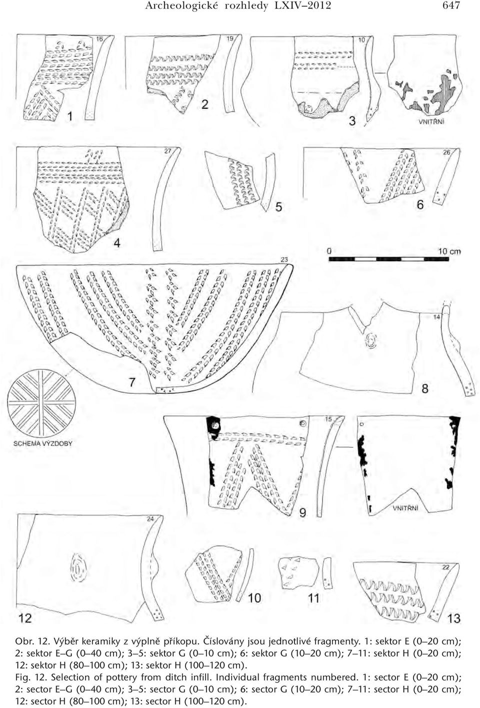 (80 100 cm); 13: sektor H (100 120 cm). Fig. 12. Selection of pottery from ditch infill. Individual fragments numbered.