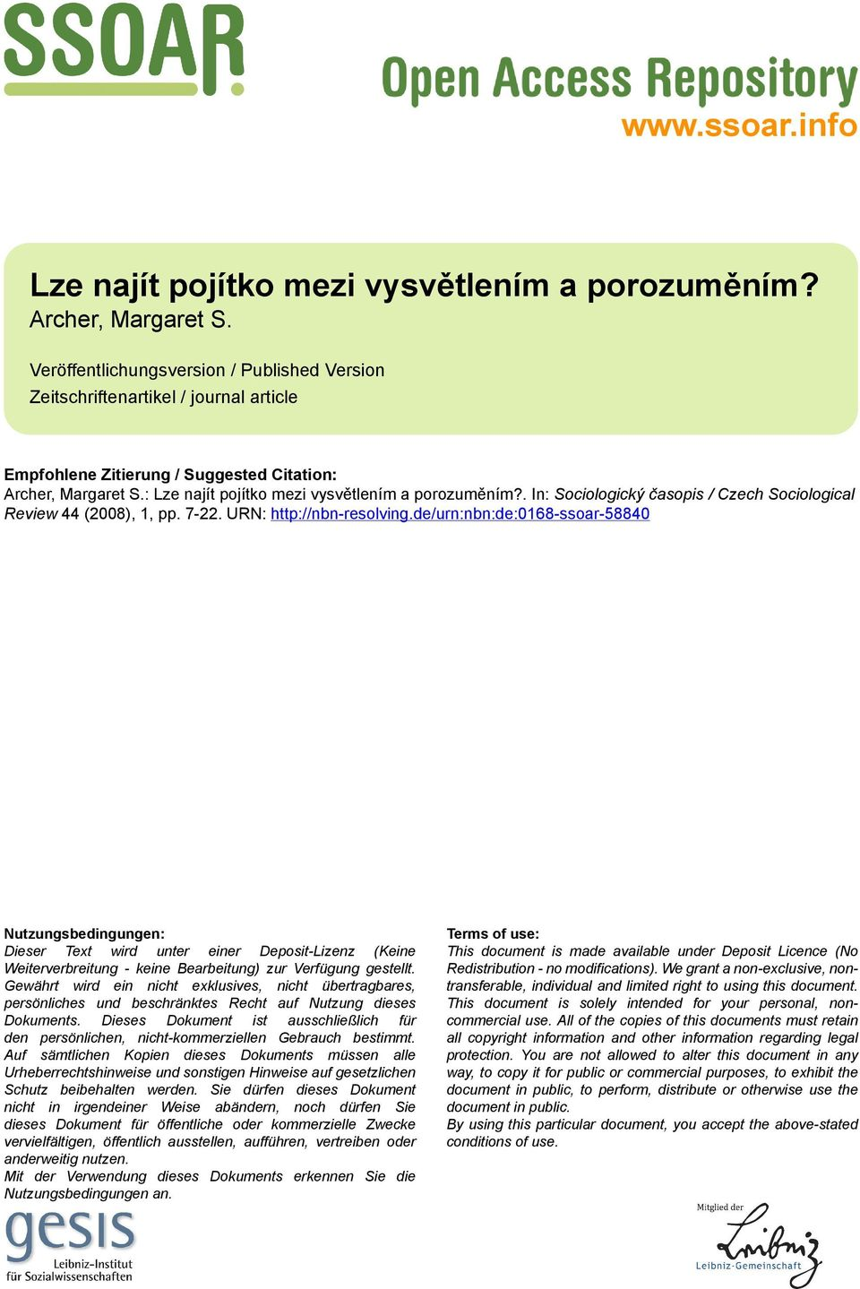 . In: Sociologický časopis / Czech Sociological Review 44 (2008), 1, pp. 7-22. URN: http://nbn-resolving.