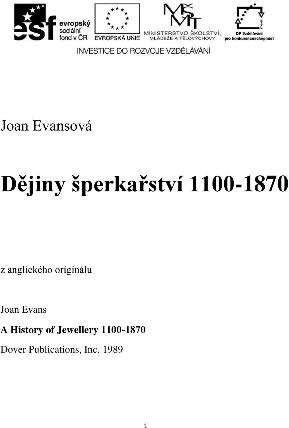 Joan Evans A History of Jewellery