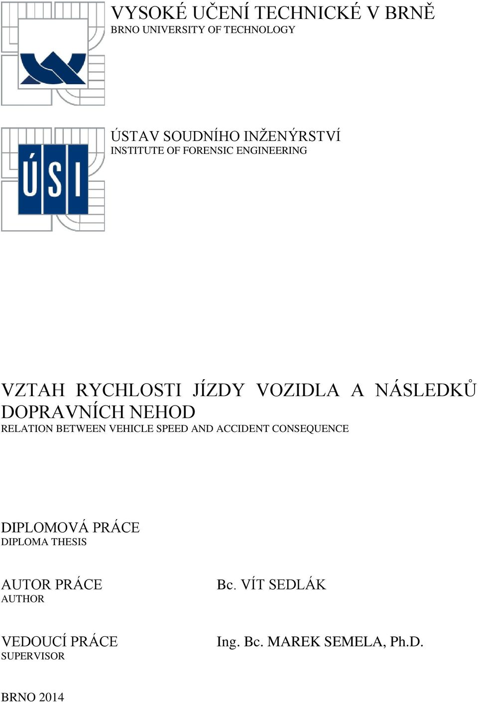NEHOD RELATION BETWEEN VEHICLE SPEED AND ACCIDENT CONSEQUENCE DIPLOMOVÁ PRÁCE DIPLOMA