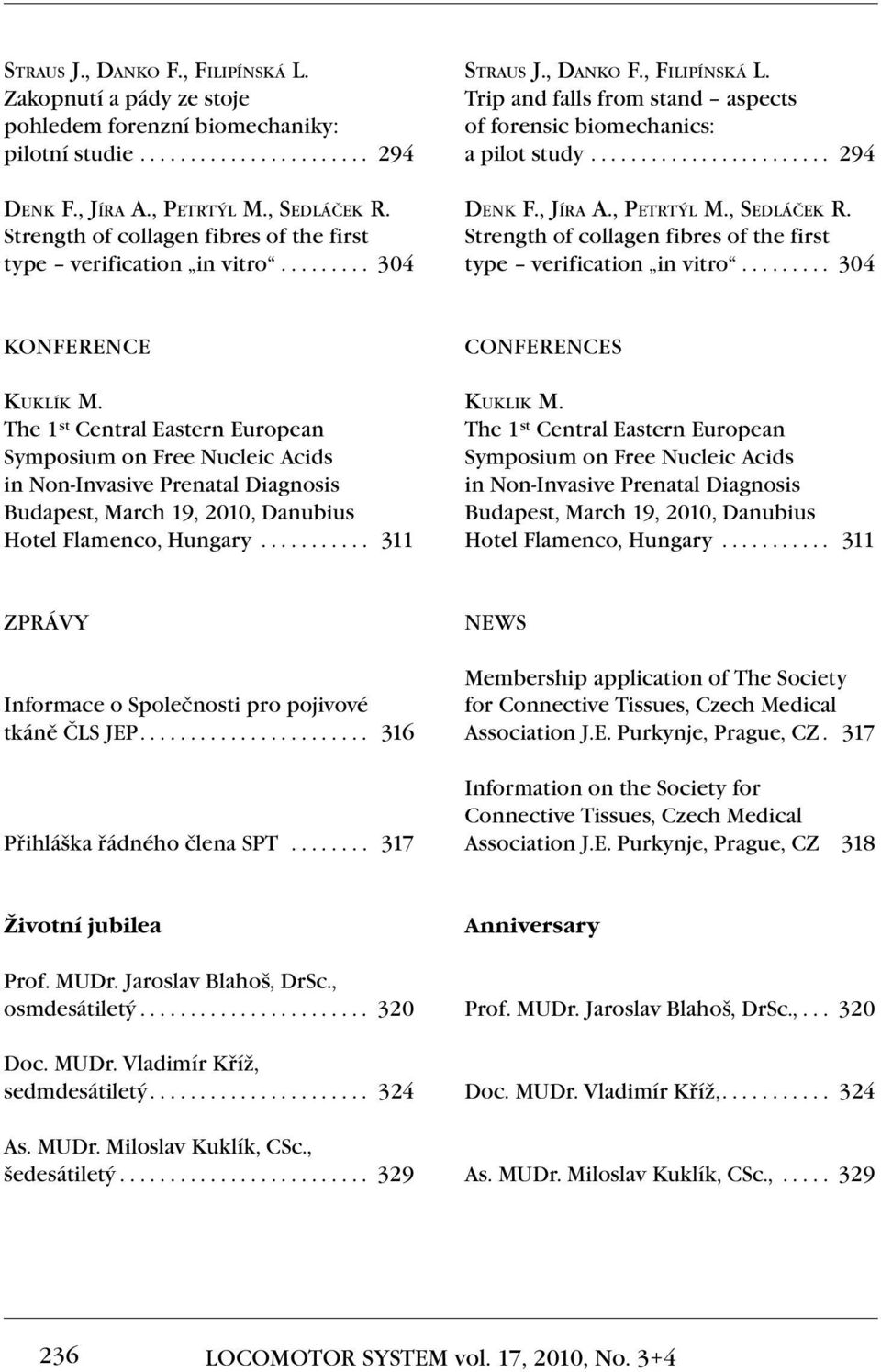 ....................... 294 Denk F., Jíra A., Petrtýl M., Sedláček R. Strength of collagen fibres of the first type verification in vitro........ 304 KONFERENCE Kuklík M.