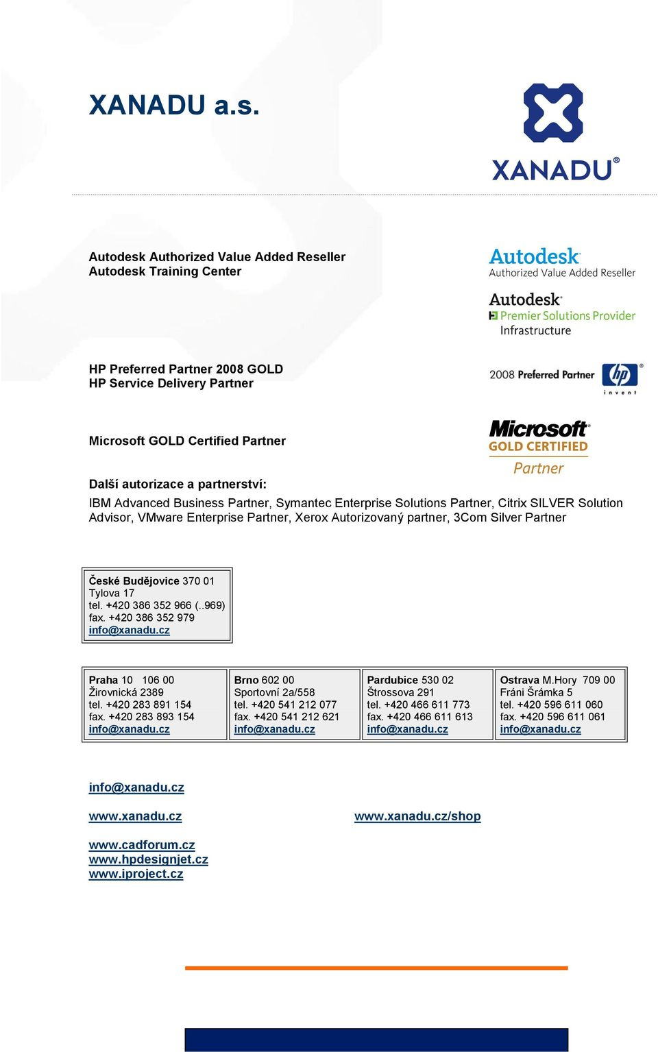 Advanced Business Partner, Symantec Enterprise Solutions Partner, Citrix SILVER Solution Advisor, VMware Enterprise Partner, Xerox Autorizovaný partner, 3Com Silver Partner České Budějovice 370 01