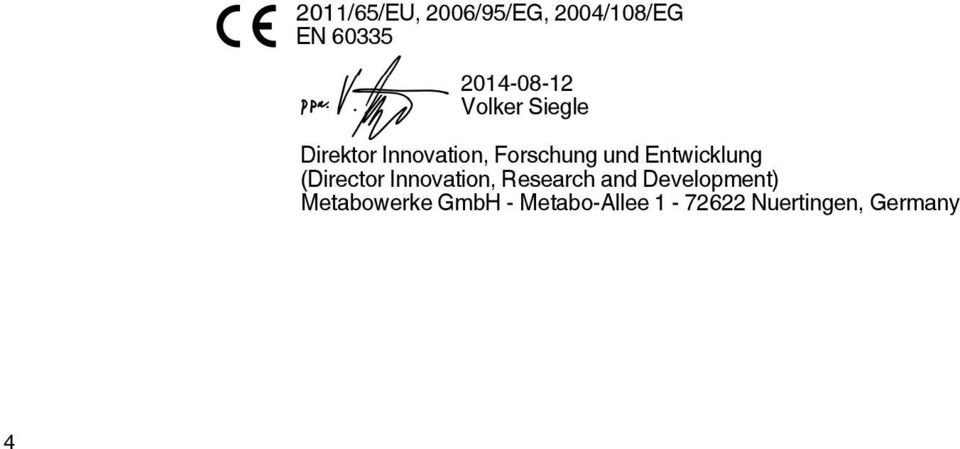 Entwicklung (Director Innovation, Research and