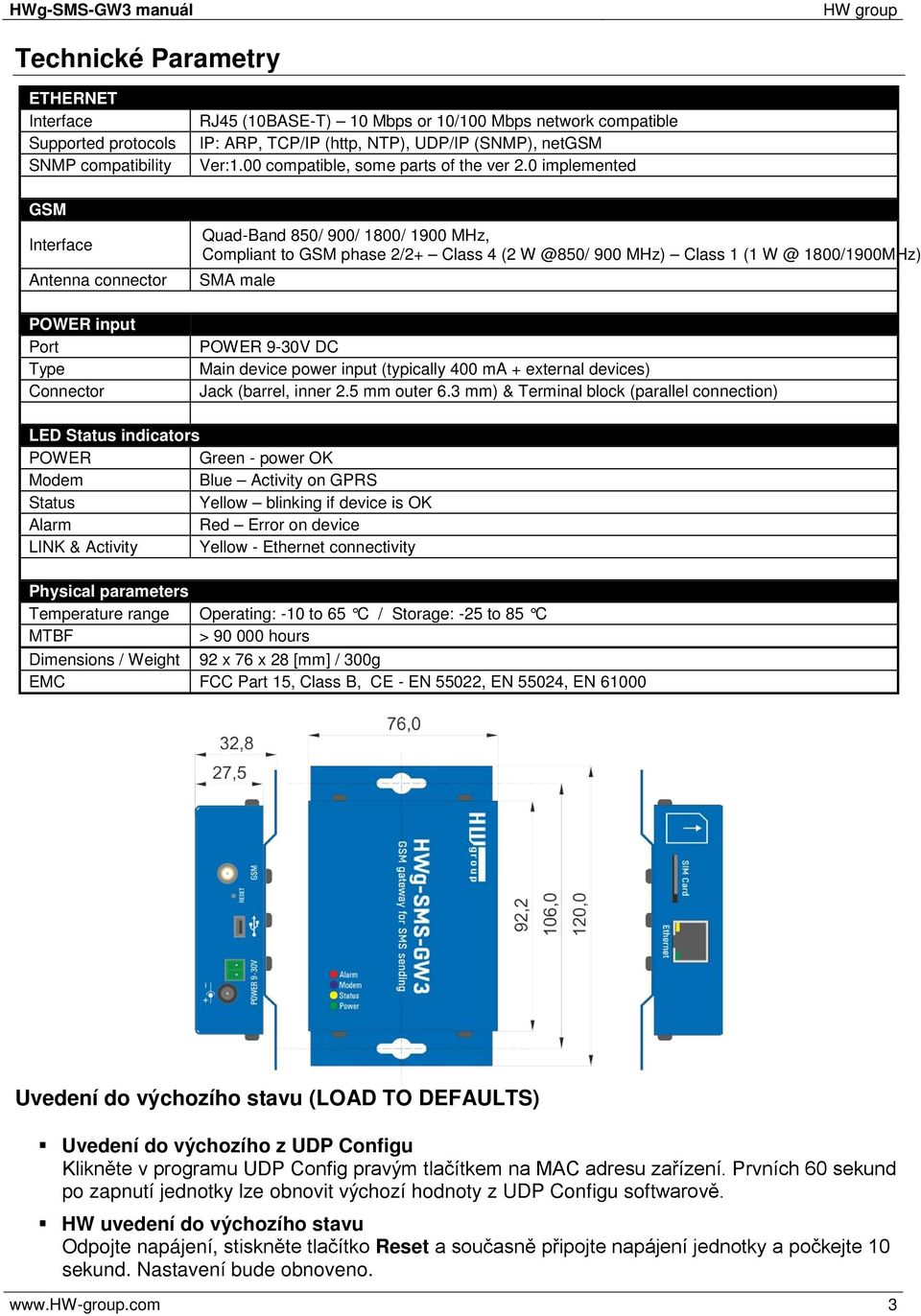 0 implemented Quad-Band 850/ 900/ 1800/ 1900 MHz, Compliant to GSM phase 2/2+ Class 4 (2 W @850/ 900 MHz) Class 1 (1 W @ 1800/1900MHz) SMA male POWER 9-30V DC Main device power input (typically 400