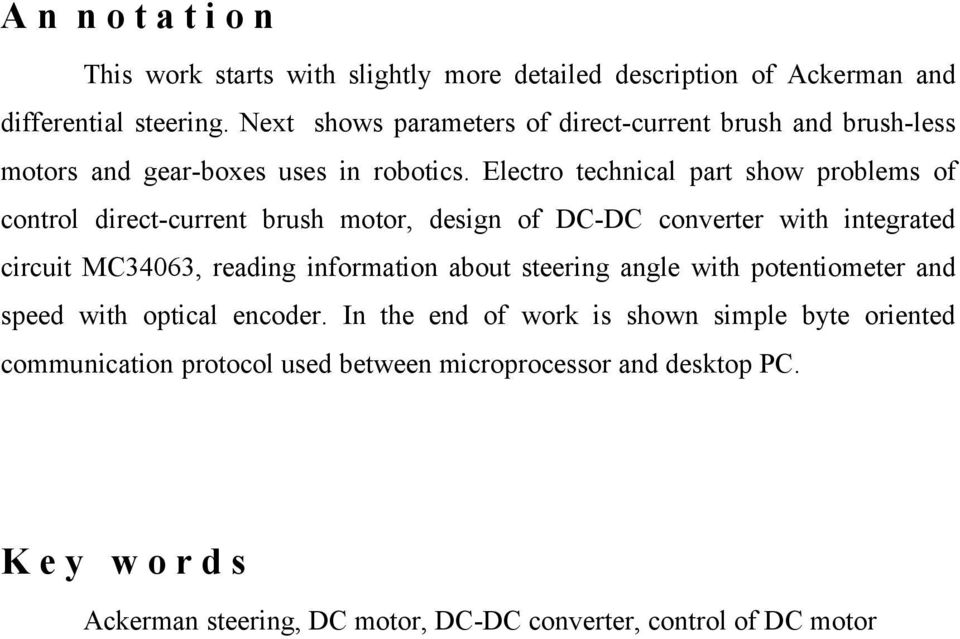 Electro technical part show problems of control direct-current brush motor, design of DC-DC converter with integrated circuit MC34063, reading information