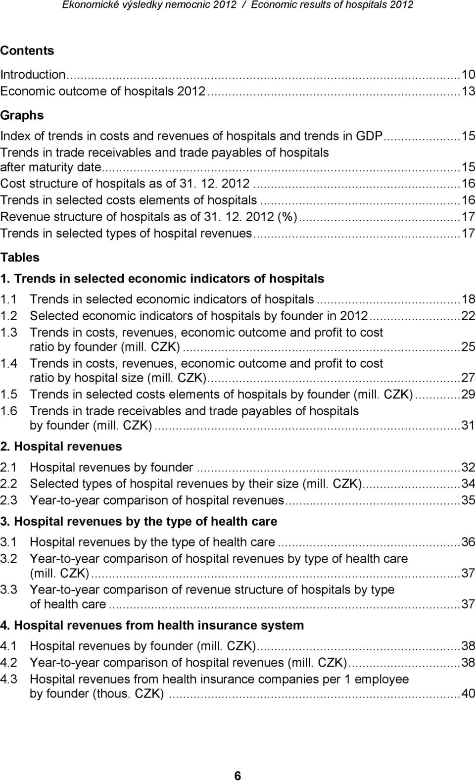 ..16 Revenue structure of hospitals as of 31. 12. 2012 (%)...17 Trends in selected types of hospital revenues...17 Tables 1. Trends in selected economic indicators of hospitals 1.
