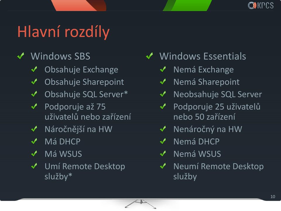 Desktop služby* Windows Essentials Nemá Exchange Nemá Sharepoint Neobsahuje SQL Server