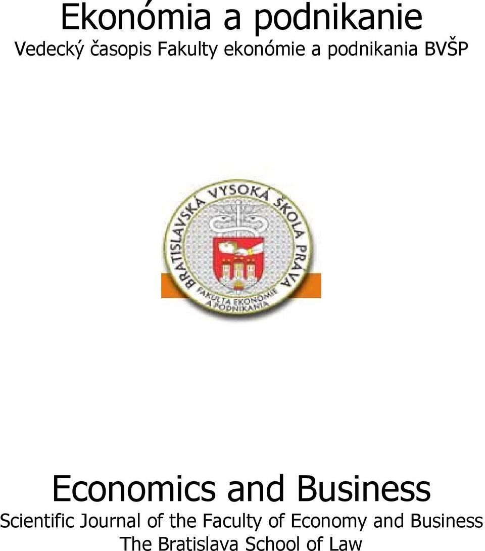 Business Scientific Journal of the Faculty of