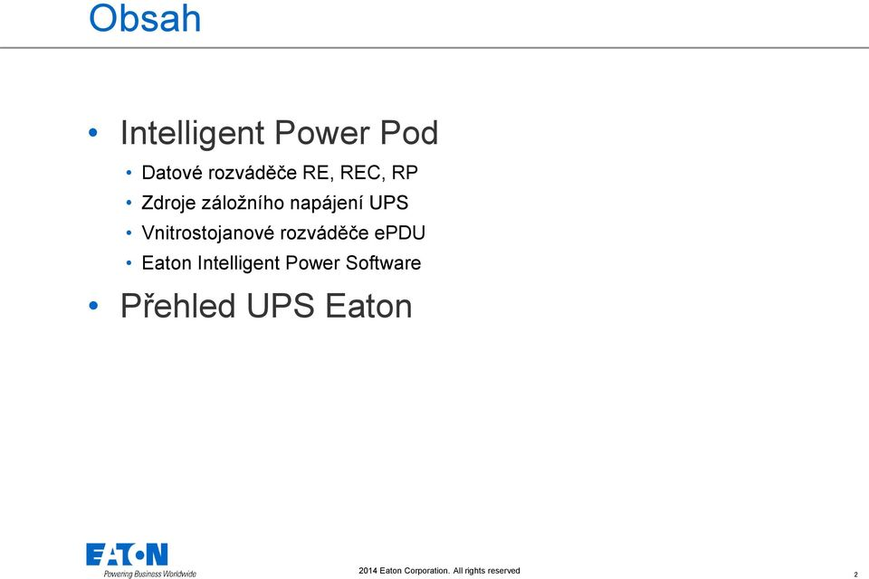 rozváděče epdu Eaton Intelligent Power Software