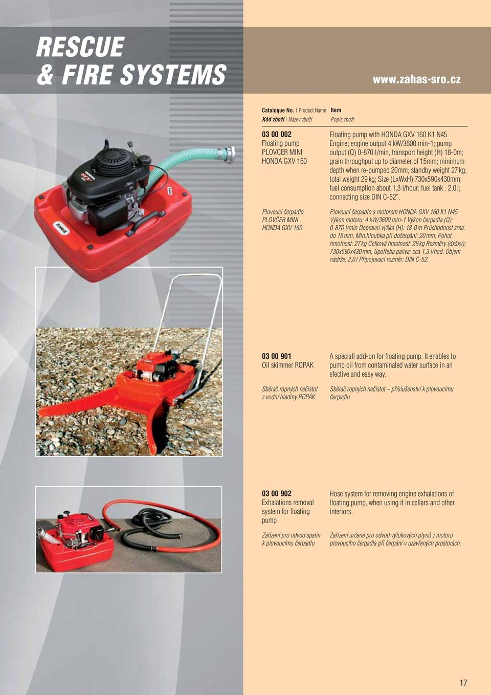 l/min, transport height (H) 18-0m; grain throughput up to diameter of 15mm; minimum depth when re-pumped 20mm; standby weight 27 kg; total weight 29 kg; Size (LxWxH) 730x590x430mm; fuel consumption