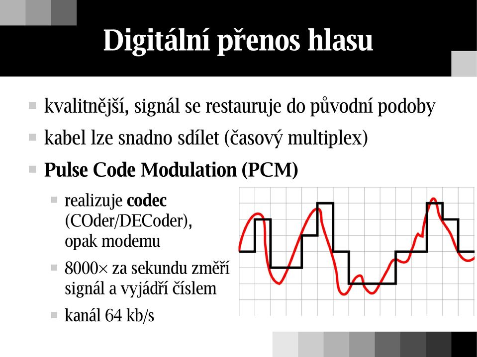 Pulse Code Modulation (PCM) realizuje codec (COder/DECoder),