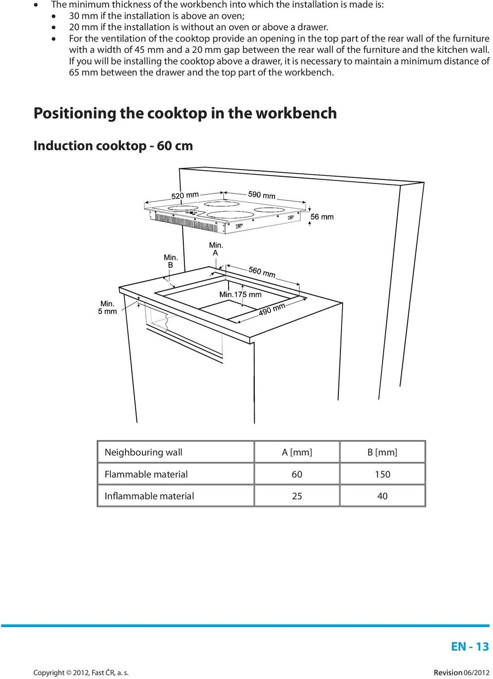 For the ventilation of the cooktop provide an opening in the top part of the rear wall of the furniture with a width of 45 mm and a 20 mm gap between the rear wall of the