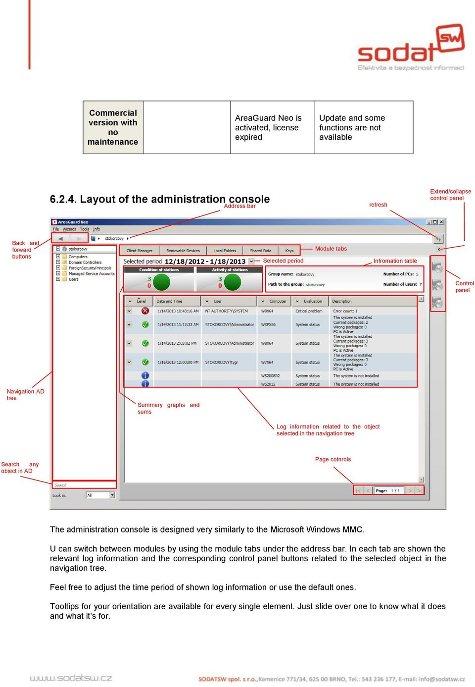 graphs and sums Log information related to the object selected in the navigation tree Search any object in AD Page cotnrols The administration console is designed very similarly to the Microsoft