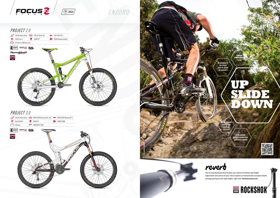 9 Concept Shimano XT Disc Rock Shox Monarch RT 3 Sram S1000 125mm adjustment range Available in 30.9mm and 31.6mm diameters o ur project 3.