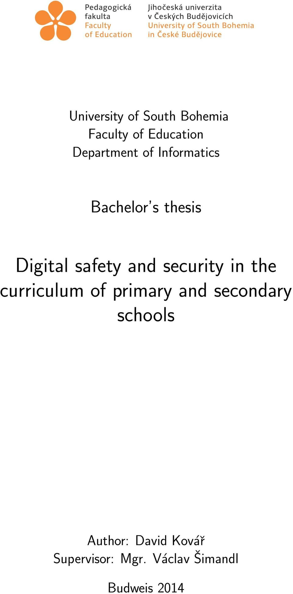 and security in the curriculum of primary and secondary