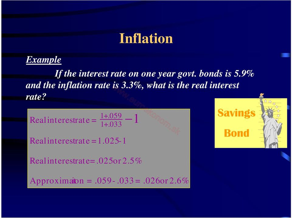 059 Realinterest rate = 1 1+.033 Realinterest rate =1.