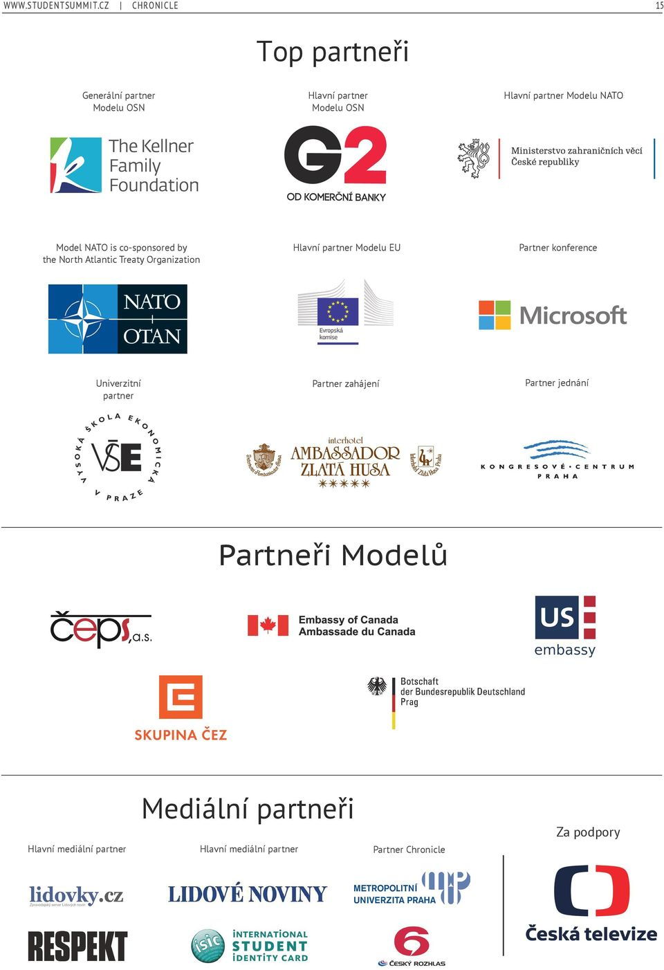 NATO is co-sponsored by the North Atlantic Treaty Organization Univerzitní partner Hlavní partner Modelu NATO Hlavní partner Modelu EU Model NATO is co-sponsored by the North Atlantic
