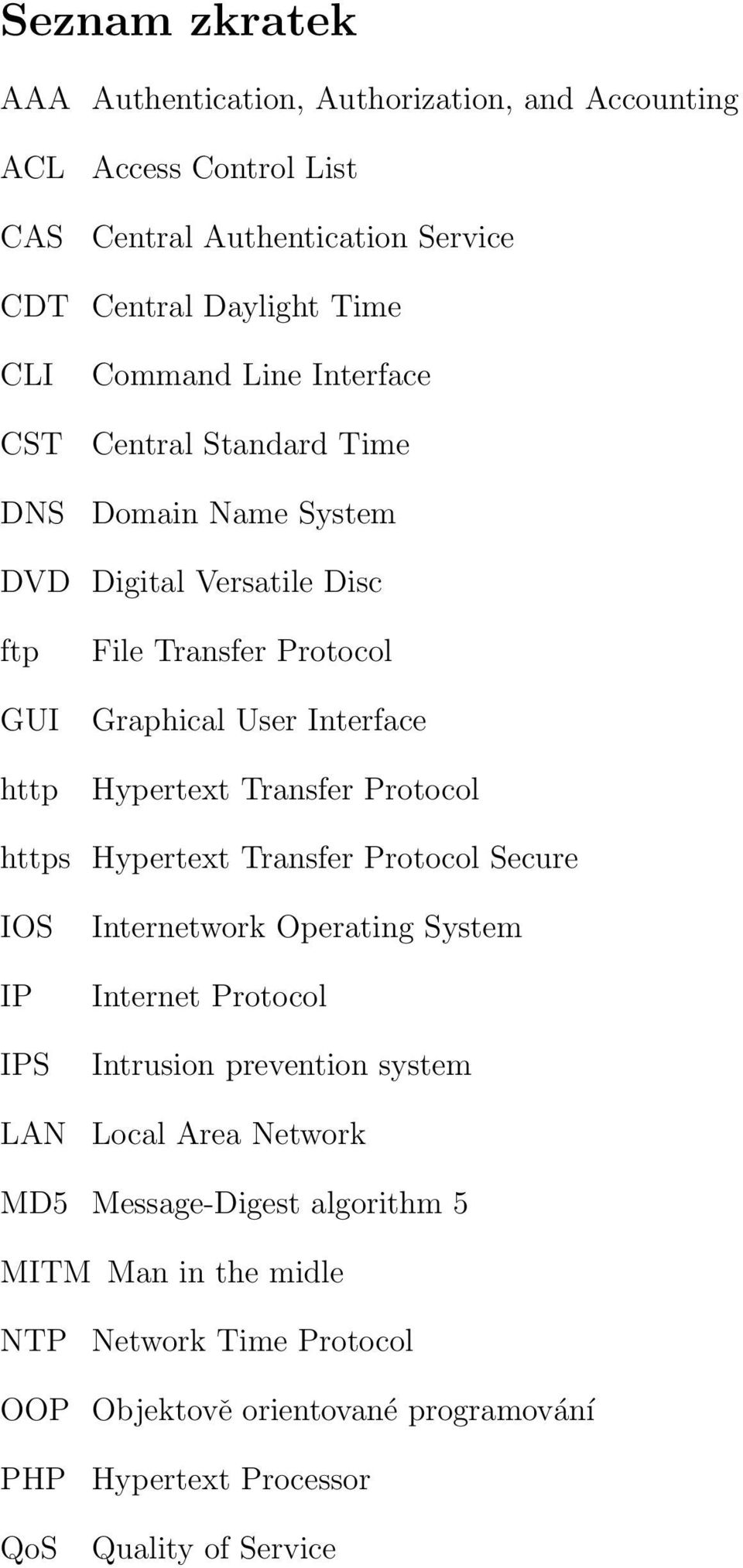 Transfer Protocol https Hypertext Transfer Protocol Secure IOS IP IPS LAN Internetwork Operating System Internet Protocol Intrusion prevention system Local Area