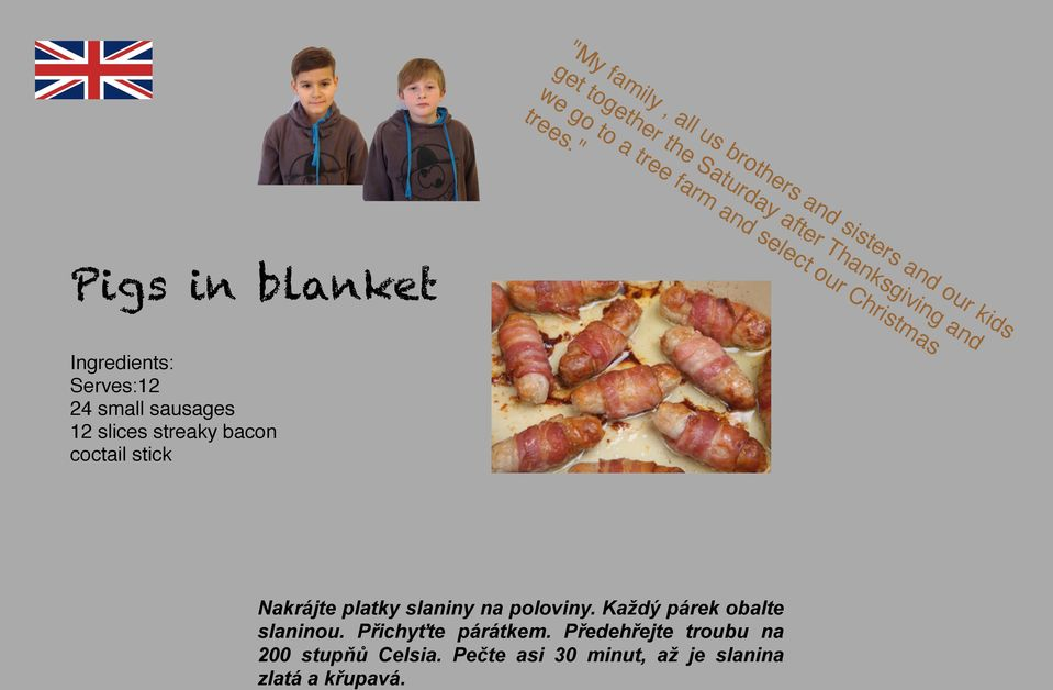 """ Pigs in blanket Ingredients: Serves:12 24 small sausages 12 slices streaky bacon coctail stick Nakrájte"