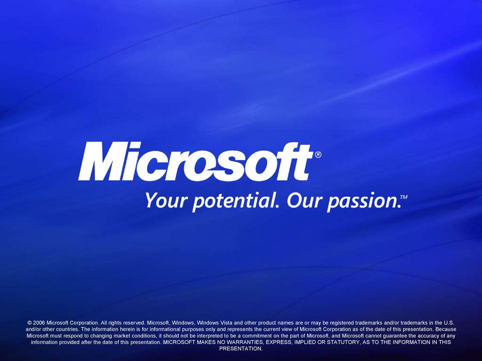 Because Microsoft must respond to changing market conditions, it should not be interpreted to be a commitment on the part of Microsoft, and Microsoft cannot guarantee the