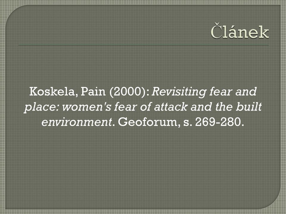 women's fear of attack and