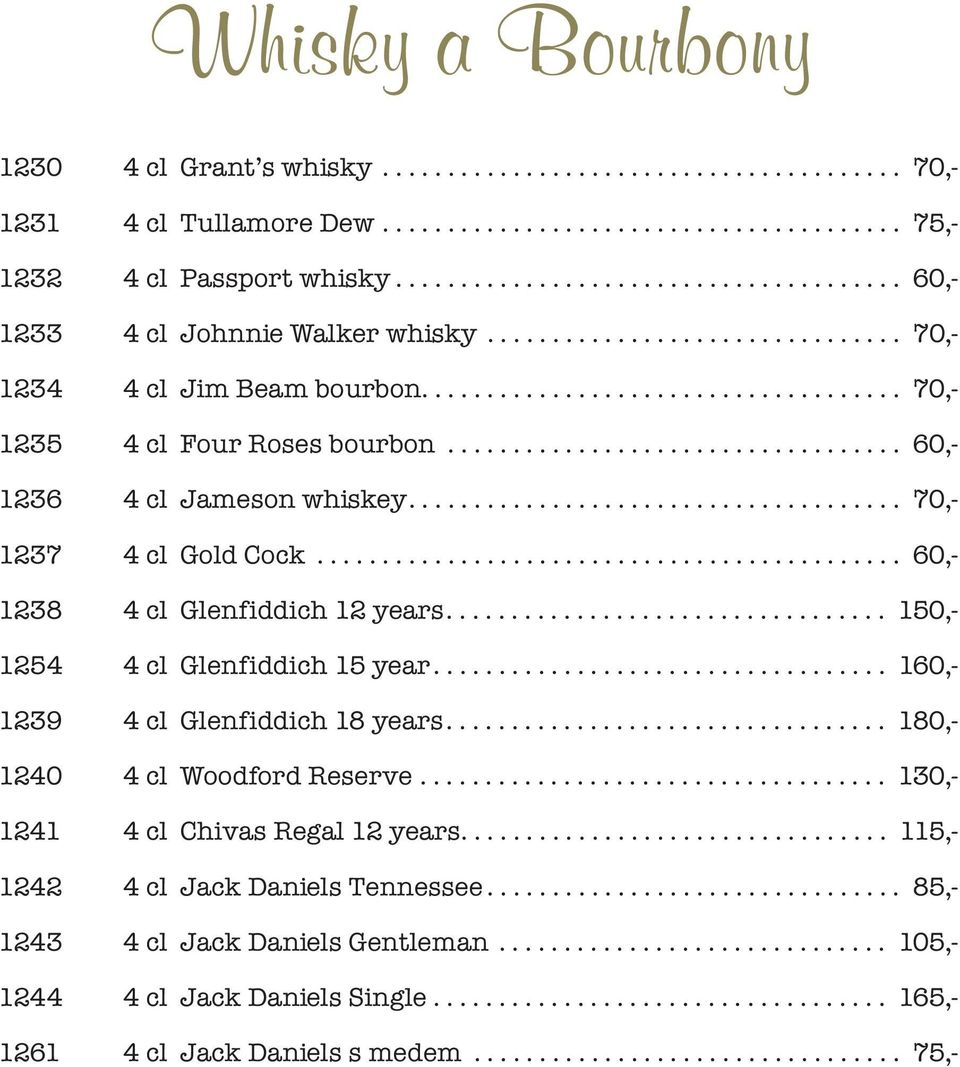 .................................. 60,- 1236 4 cl Jameson whiskey...................................... 70,- 1237 4 cl Gold Cock............................................. 60,- 1238 4 cl Glenfiddich 12 years.