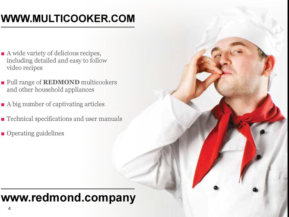 follow video recipes Full range of REDMOND multicookers and other