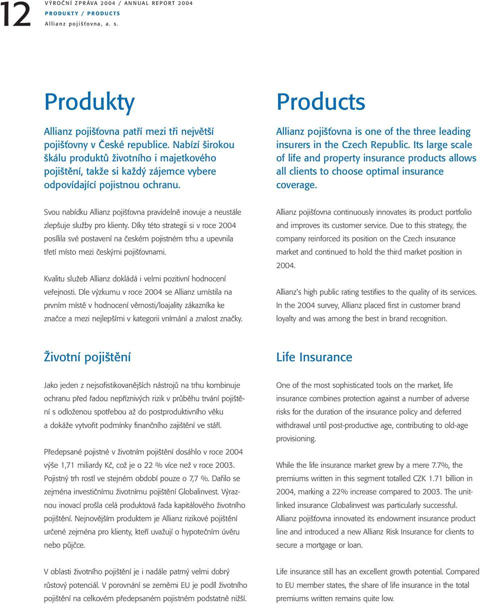 Products Allianz pojišťovna is one of the three leading insurers in the Czech Republic. Its large scale of life and property insurance products allows all clients to choose optimal insurance coverage.
