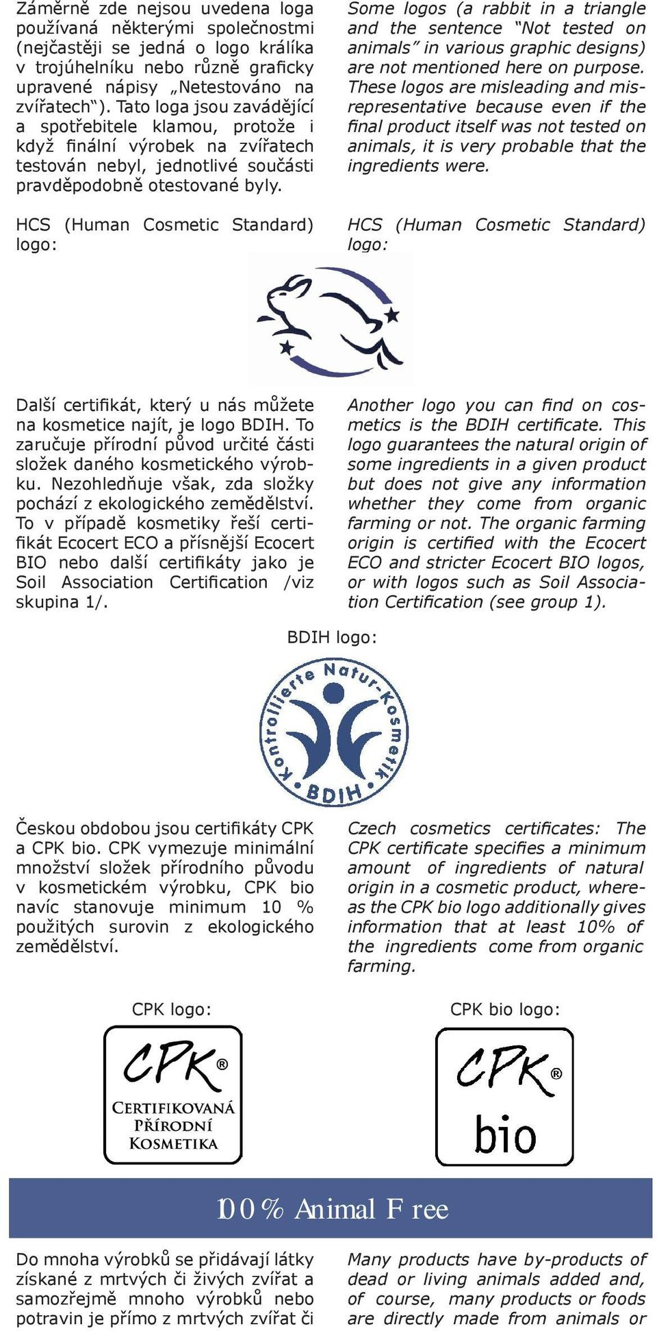 HCS (Human Cosmetic Standard) logo: Some logos (a rabbit in a triangle and the sentence Not tested on animals in various graphic designs) are not mentioned here on purpose.