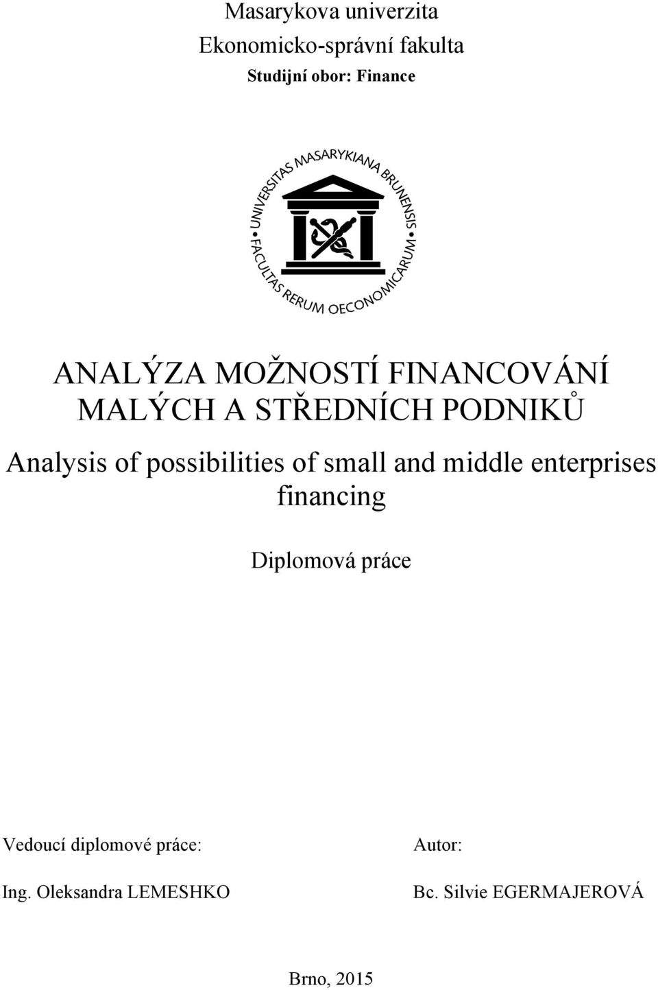 possibilities of small and middle enterprises financing Diplomová práce