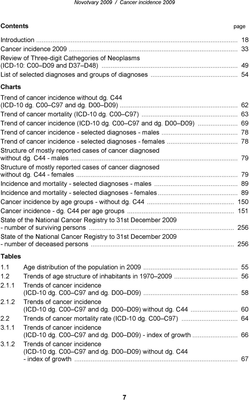 C00 C97 and dg. D00 D09)... 69 Trend of cancer incidence - selected diagnoses - males... 78 Trend of cancer incidence - selected diagnoses - females.