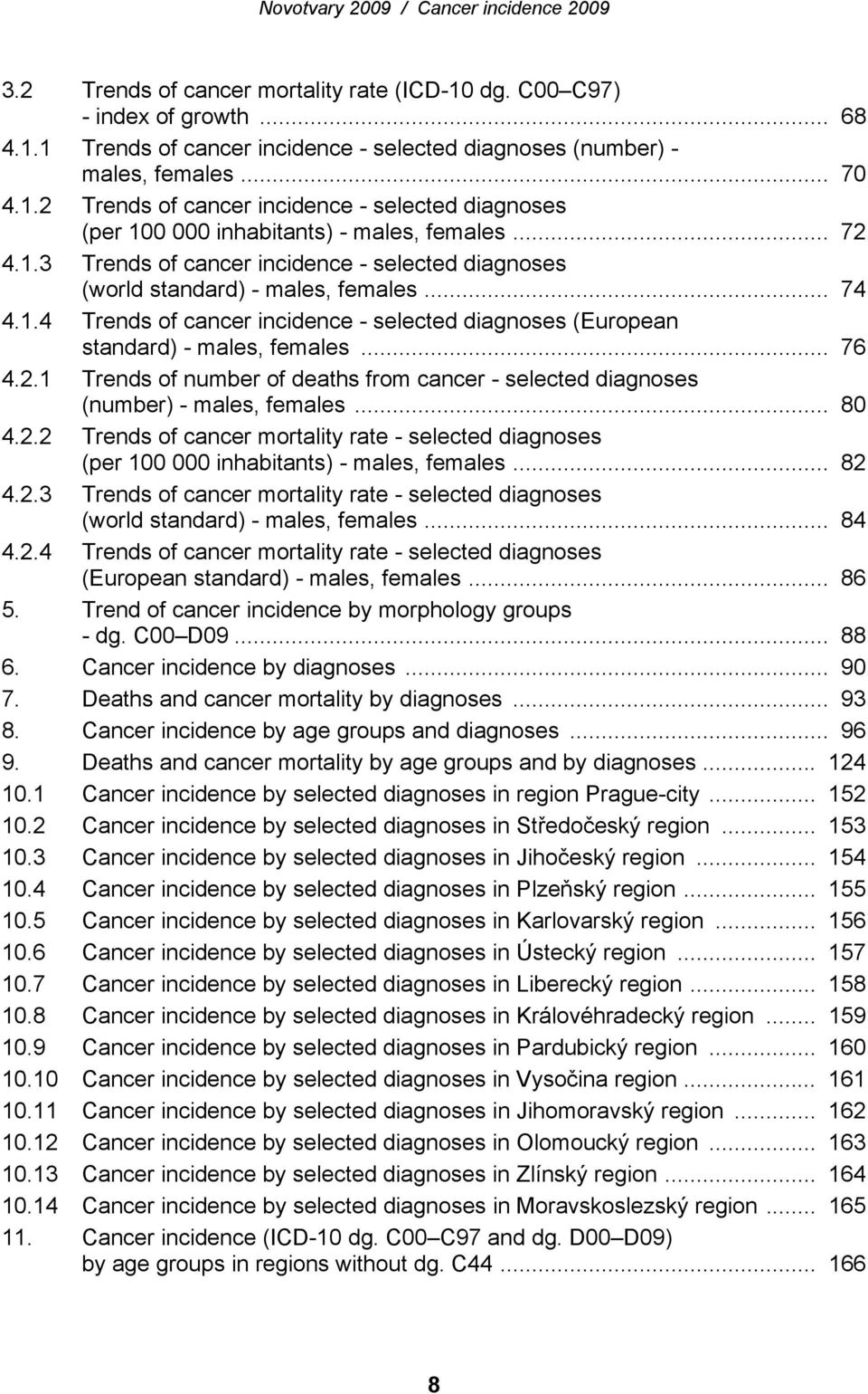 .. 80 4.2.2 Trends of cancer mortality rate - selected diagnoses (per 100 000 inhabitants) - males, females... 82 4.2.3 Trends of cancer mortality rate - selected diagnoses (world ) - males, females.