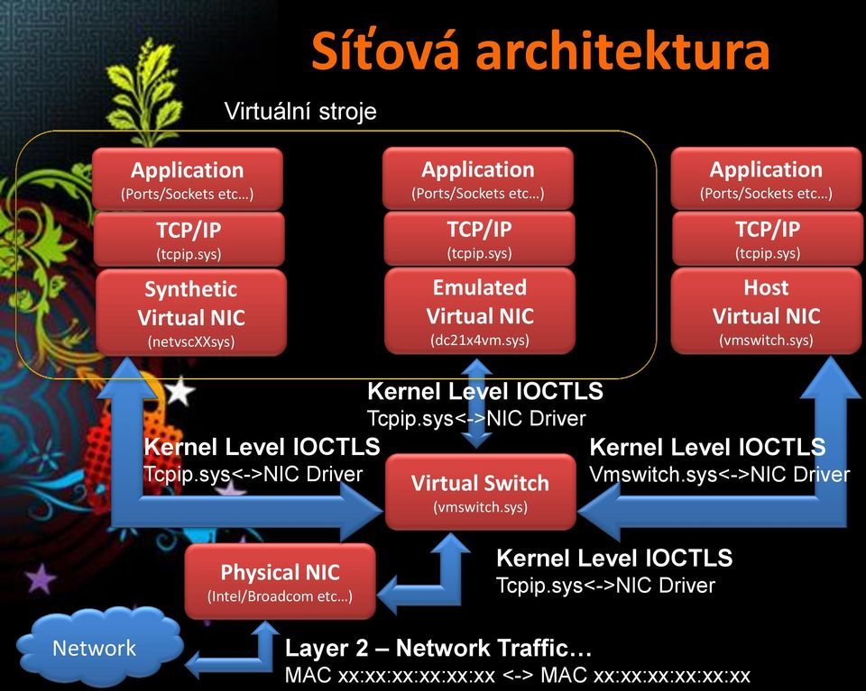 sys) Application (Ports/Sockets etc ) TCP/IP (tcpip.sys) Host Virtual NIC (vmswitch.sys) Kernel Level IOCTLS Tcpip.