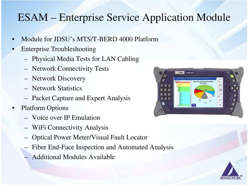Statistics Packet Capture and Expert Analysis Platform Options Voice over IP Emulation WiFi Connectivity