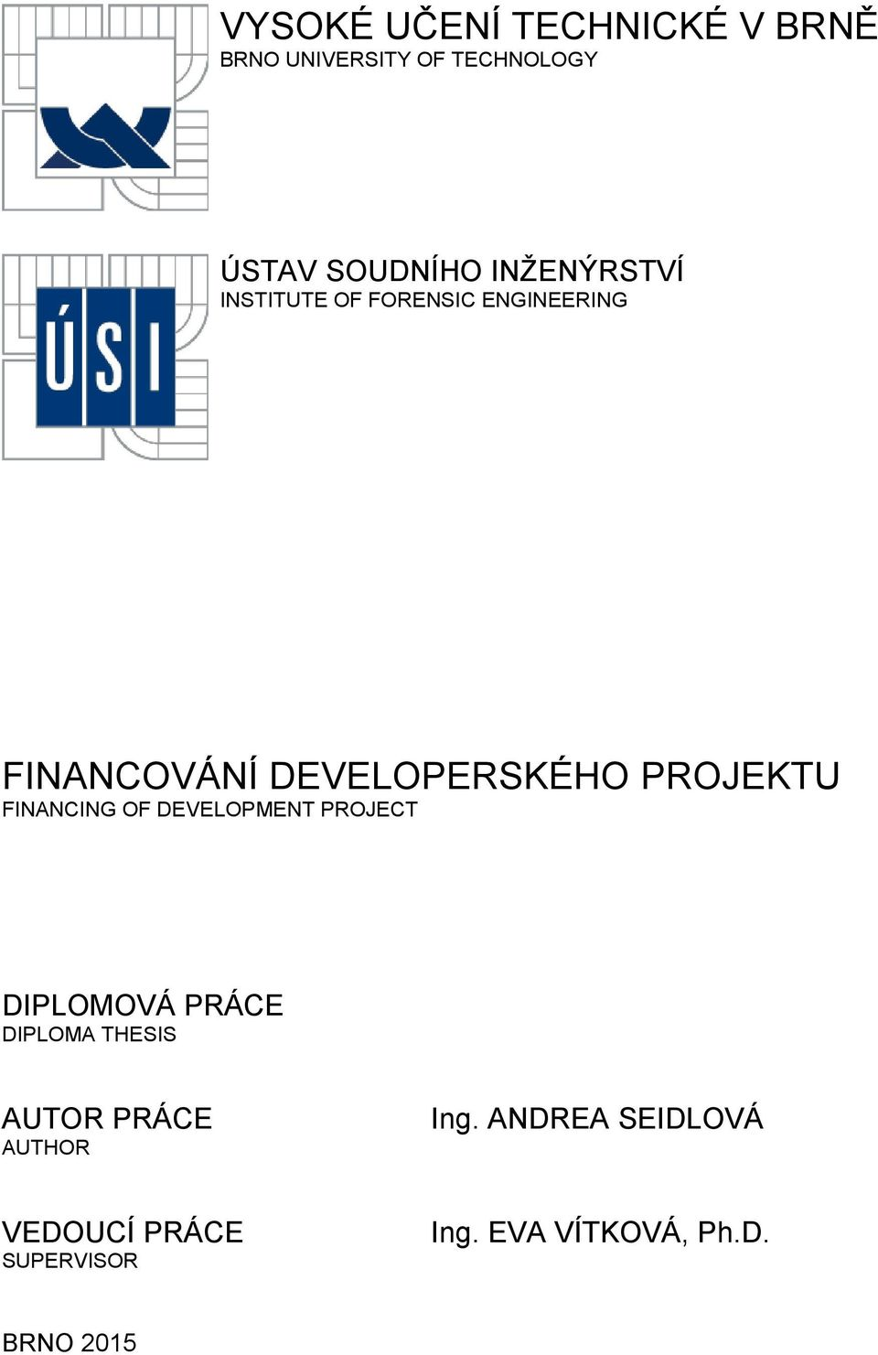PROJEKTU FINANCING OF DEVELOPMENT PROJECT DIPLOMOVÁ PRÁCE DIPLOMA THESIS AUTOR