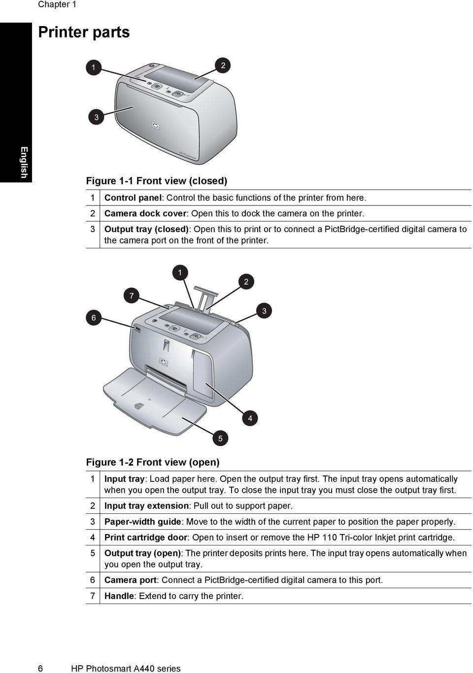 Figure 1-2 Front view (open) 1 Input tray: Load paper here. Open the output tray first. The input tray opens automatically when you open the output tray.