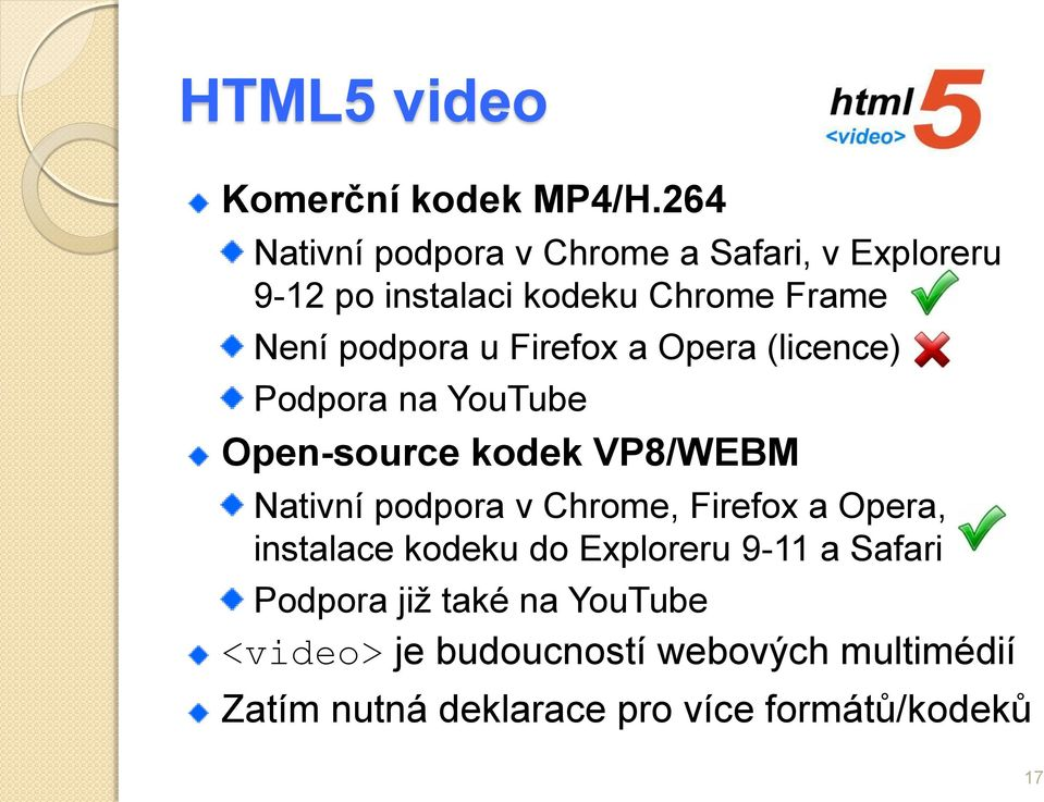 Firefox a Opera (licence) Podpora na YouTube Open-source kodek VP8/WEBM Nativní podpora v Chrome,