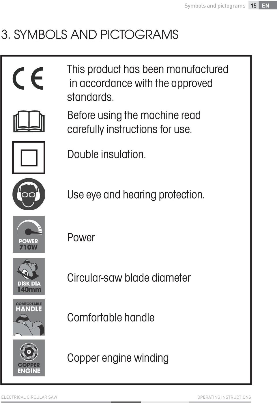 standards. Before using the machine read carefully instructions for use. Double insulation.