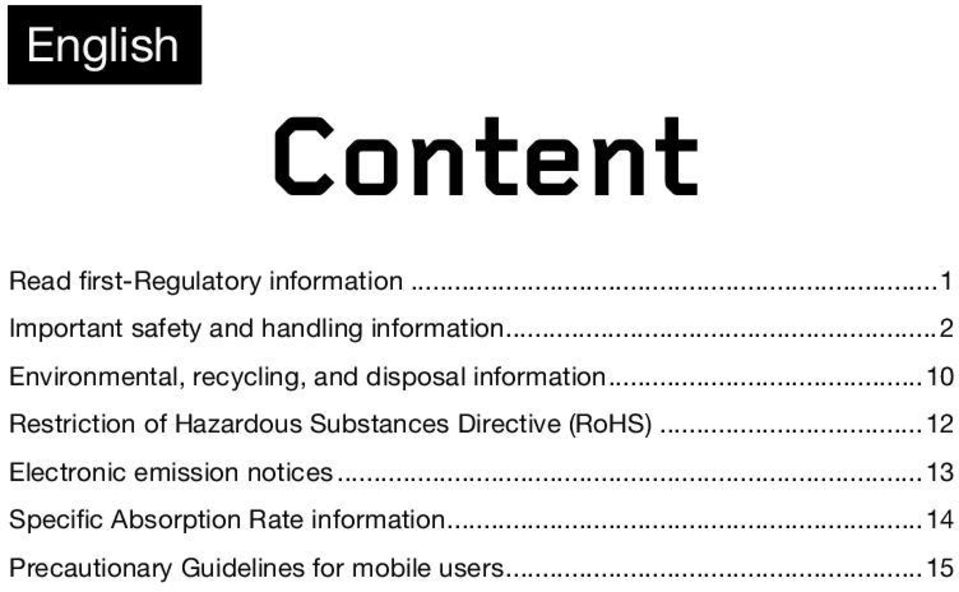 .. 2 Environmental, recycling, and disposal information.