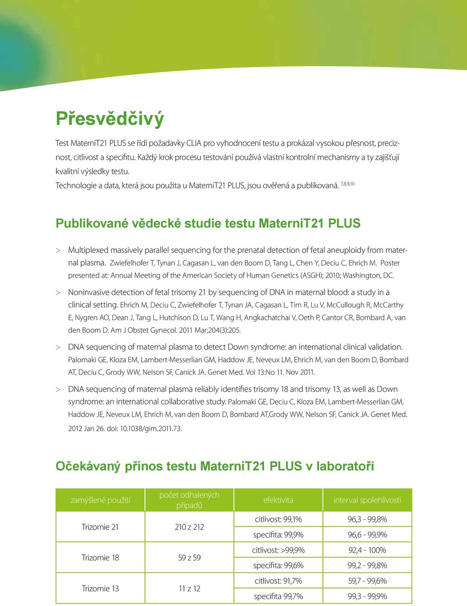 7,8,9,10 Publikované vědecké studie testu MaterniT21 PLUS > Multiplexed massively parallel sequencing for the prenatal detection of fetal aneuploidy from maternal plasma.