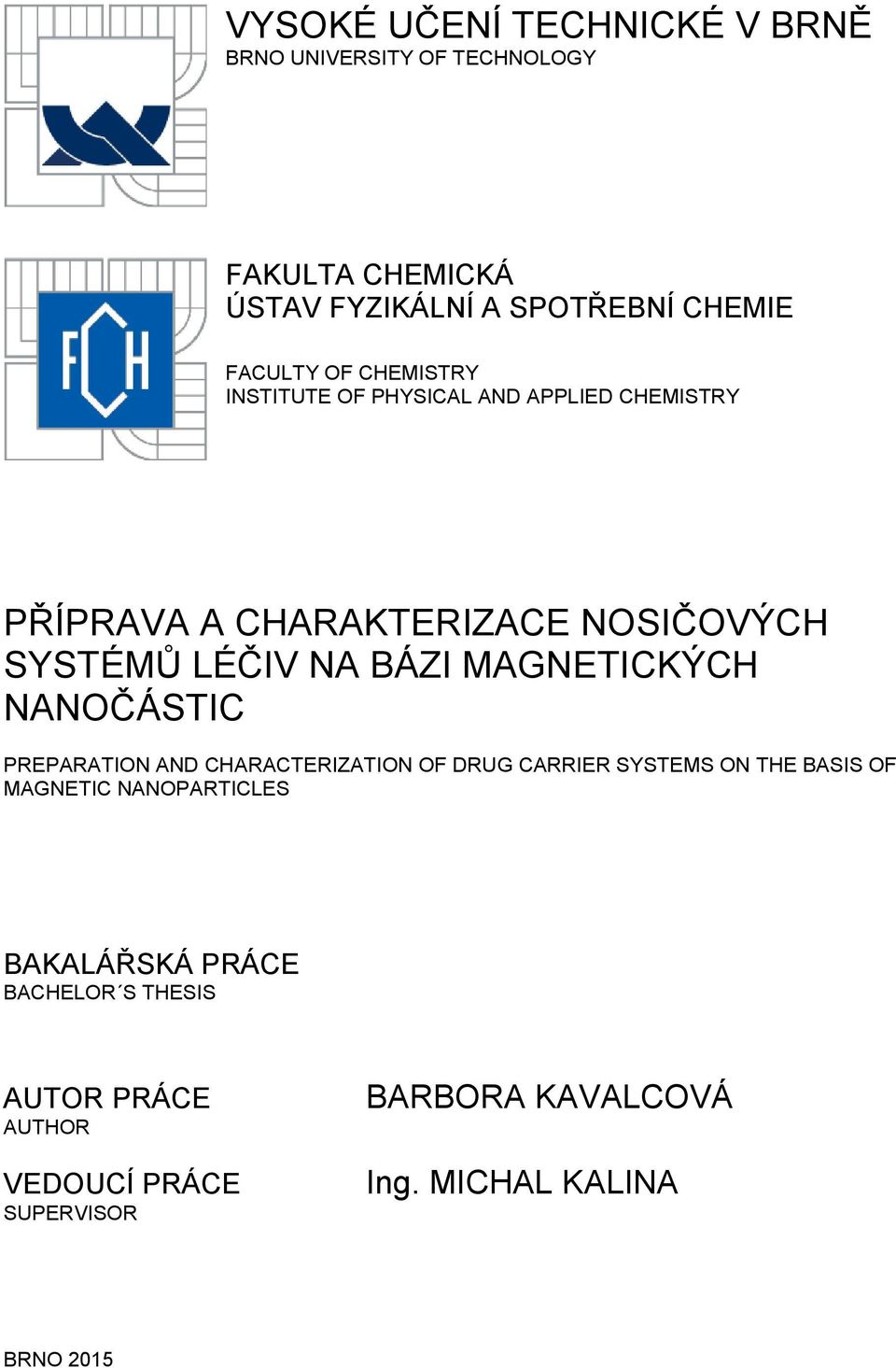 MAGNETICKÝCH NANOČÁSTIC PREPARATION AND CHARACTERIZATION OF DRUG CARRIER SYSTEMS ON THE BASIS OF MAGNETIC NANOPARTICLES
