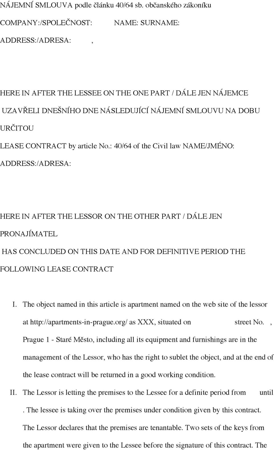 LEASE CONTRACT by article No.