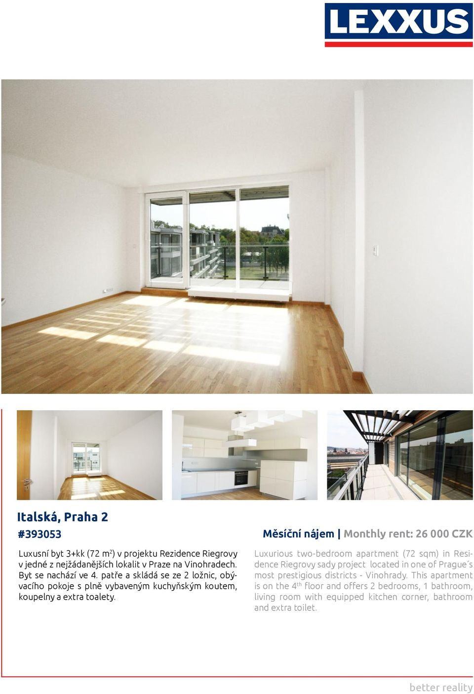 Měsíční nájem Monthly rent: 26 000 CZK Luxurious two-bedroom apartment (72 sqm) in Residence Riegrovy sady project located in one of Prague s most