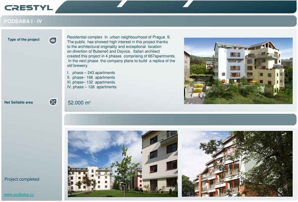 and Dejvice. Italian architect created this project in 4 phases comprising of 667apartments.