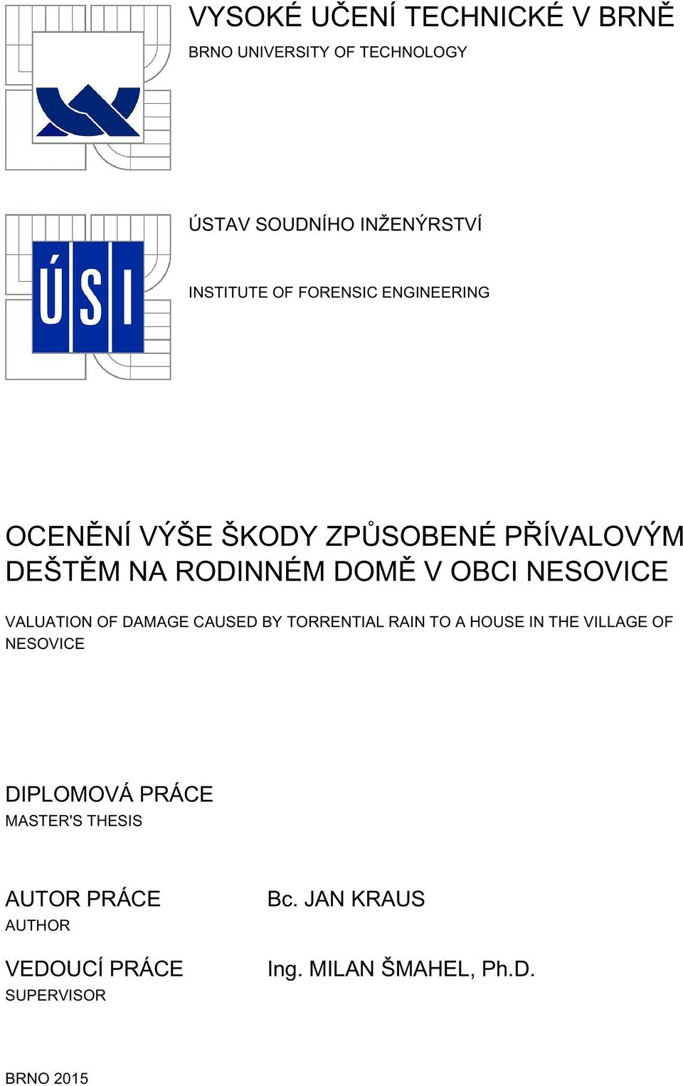 VALUATION OF DAMAGE CAUSED BY TORRENTIAL RAIN TO A HOUSE IN THE VILLAGE OF NESOVICE DIPLOMOVÁ PRÁCE
