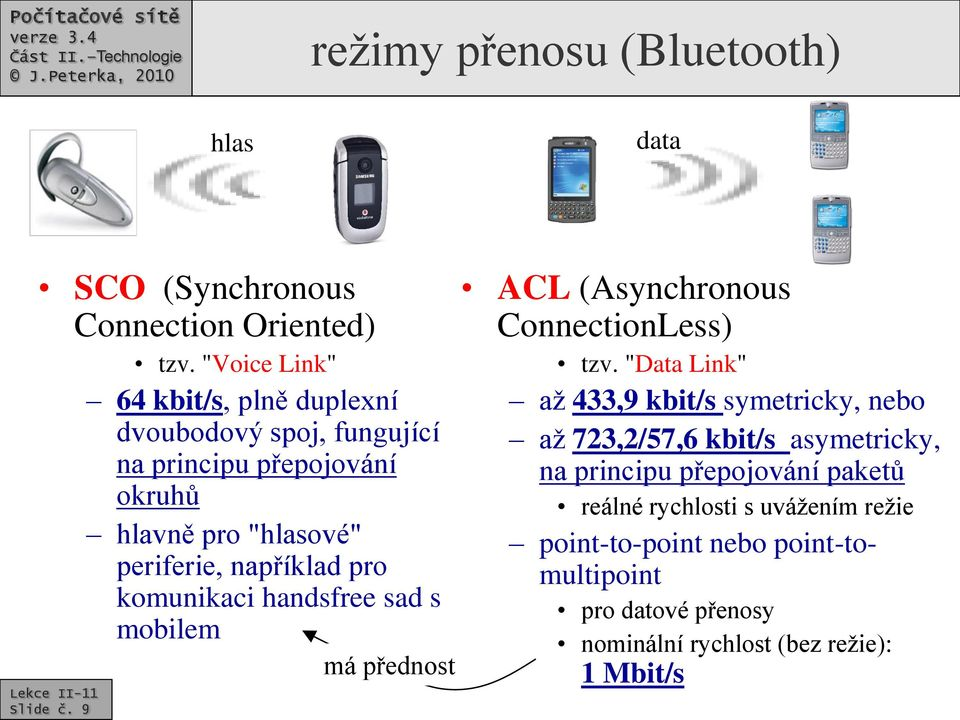 pro komunikaci handsfree sad s Slide č. 9 mobilem má přednost ACL (Asynchronous ConnectionLess) tzv.