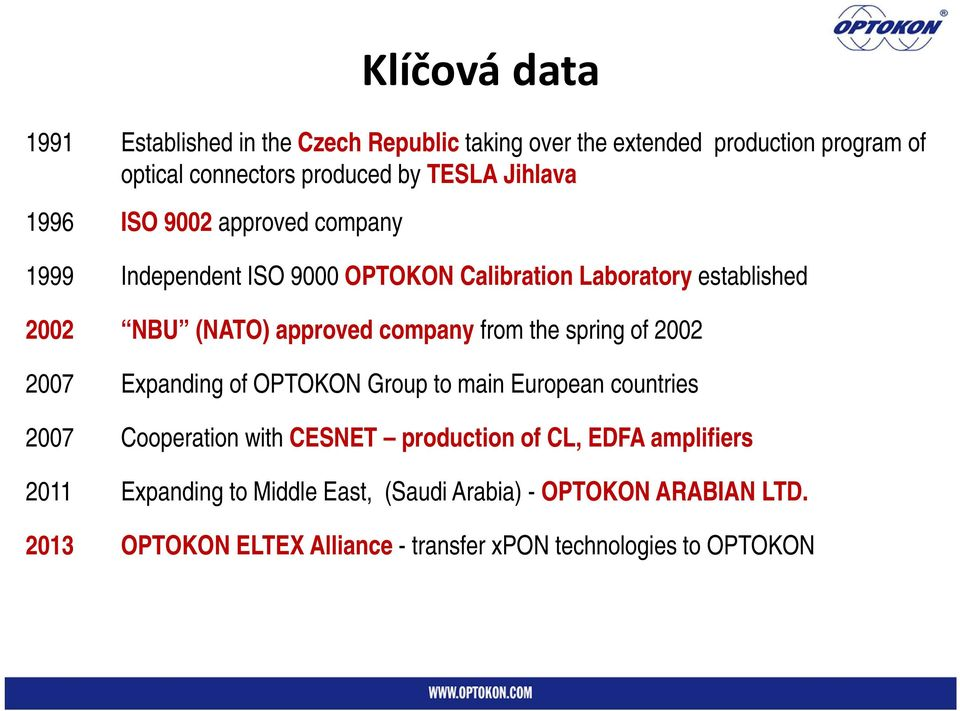 from the spring of 2002 2007 Expanding of OPTOKON Group to main European countries 2007 Cooperation with CESNET production of CL, EDFA