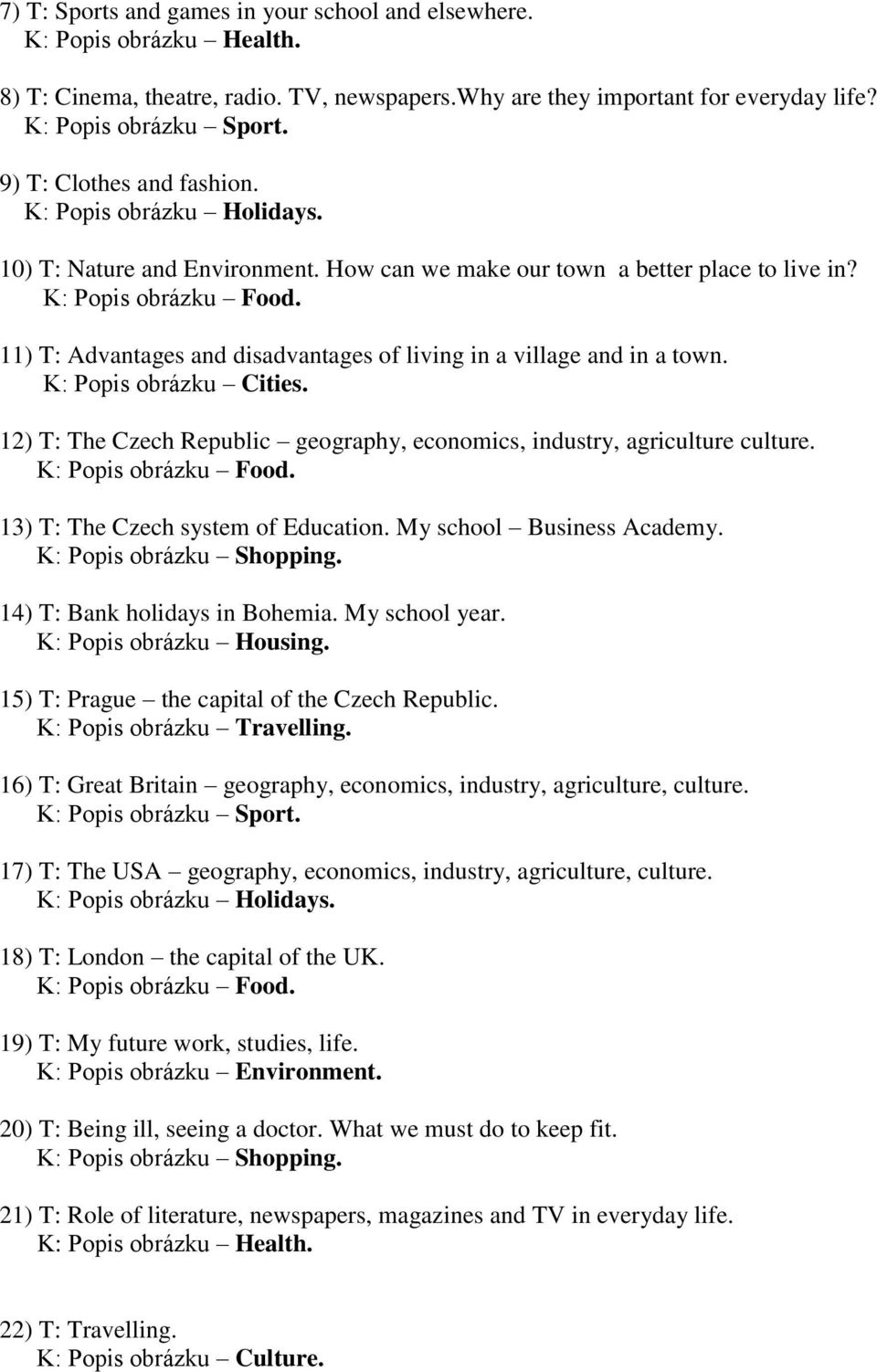 11) T: Advantages and disadvantages of living in a village and in a town. K: Popis obrázku Cities. 12) T: The Czech Republic geography, economics, industry, agriculture culture. K: Popis obrázku Food.